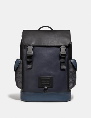 Coach Rivington Backpack With Signature Canvas Blocking