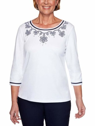Alfred Dunner Women's Gingham Soutache Yoke Top