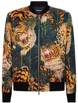 DSQUARED2 Tiger Print Silk Bomber Jacket