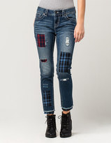 Miss Me Patch Work Mid-Rise Womens Skinny Jeans