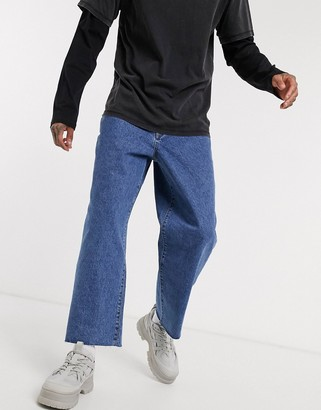 The Ragged Priest jeans skater jeans with raw hem in blue