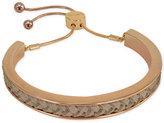 GUESS Rose Gold-Tone Faux Leather Slider Bracelet