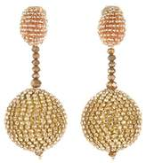 Oscar de la Renta Beaded Swarovski Crystal Embellished Ball Drop Clip On Earrings