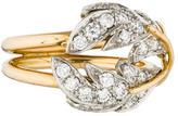 Tiffany & Co. 18K Diamond Two Leaves Ring