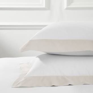 The White Company Camborne Oxford Pillowcase with Border Single, Oyster, Large Square
