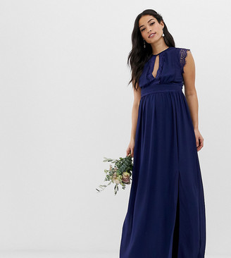 TFNC Maternity lace detail maxi bridesmaid dress in navy