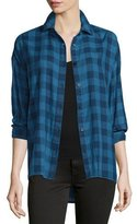 The Great The Big Shirt Button-Front Shirt, Indigo Check