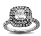 Zales 2-1/4 CT. T.W. Certified Cushion-Cut Diamond Double Frame Engagement Ring in Platinum (H/SI2)