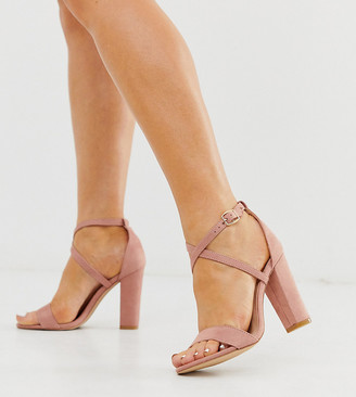 Glamorous Wide Fit cross strap heeled sandals-Pink