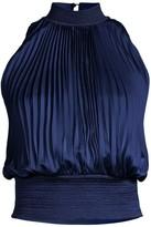 Donna Karan Pleated Sateen Top