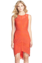 Adelyn Rae Lace Mesh Sheath Dress