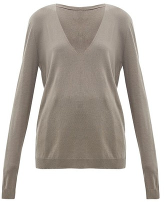 Rick Owens V-neck Wool Sweater - Grey