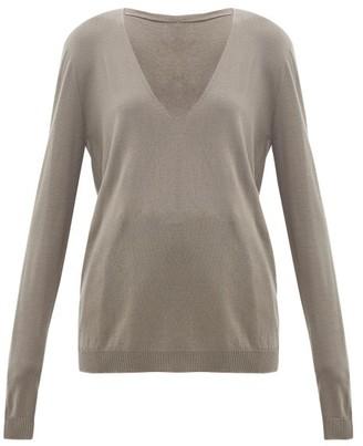 Rick Owens V-neck Wool Sweater - Womens - Grey