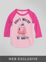 Junk Food Clothing Kids Girls Don't Worry Be Happy Raglan-pa/fl-xs