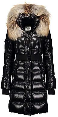 SAM. Women's Infinity Fox Fur-Trim Belted Down Puffer Coat