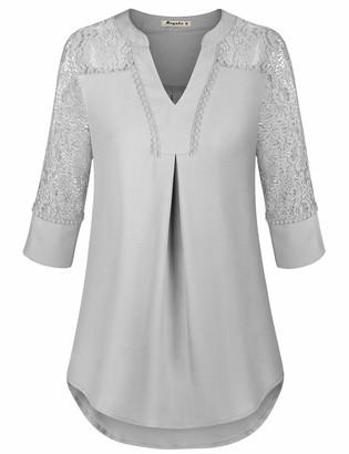 Moyabo Women's 3/4 Lace Sleeve Split V Neck T-Shirts Casual Blouses Tops Pink Medium