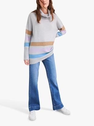 White Stuff Cara Striped Roll Neck Cashmere Jumper, Grey Marl