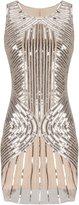 PrettyGuide Women 20s Gatsby Downton Beaded Sequin Embellished Flapper Dress M
