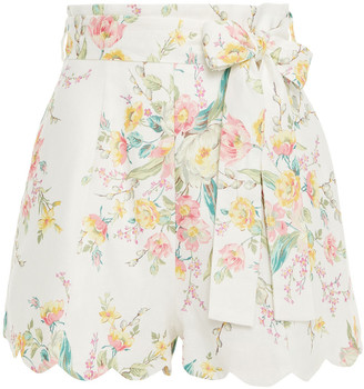Zimmermann Belted Floral-print Linen Shorts
