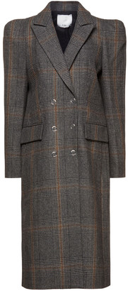 Tibi Double-breasted Prince Of Wales Checked Wool-blend Coat