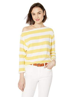 Enza Costa Women's Sweater Jersey Exposed Shoulder Long Sleeve Top