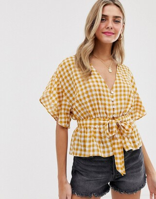 Miss Selfridge tie front blouse in yellow gingham-Multi