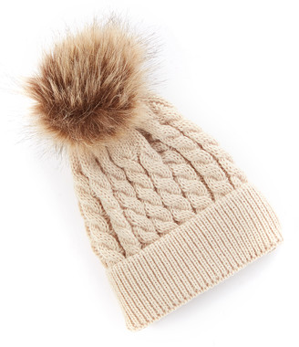 Wind + Thistle wind + thistle Beanies - Brown Knit Faux-Fur Pom-Pom Beanie - Newborn