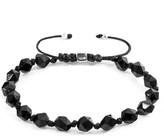 Anchor & Crew Black Agate Zebedee Silver & Stone Beaded Macrame Bracelet