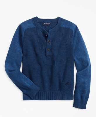 Brooks Brothers Boys Cotton Waffle Knit Henley