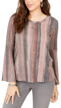 Style&Co. Style & Co Striped Bell-Sleeve Top, Created For Macy's