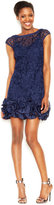 Jessica Simpson Floral-Lace Ruffled-Hem Sheath