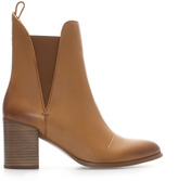Zara Leather Ankle Boot With Wide Heel