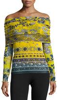 Fuzzi Off-the-Shoulder Batik Tulle Top, Yellow/Blue