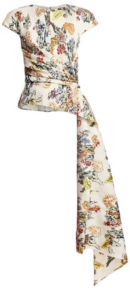 Oscar de la Renta Asymmetric Floral Wool-Blend Sash Blouse