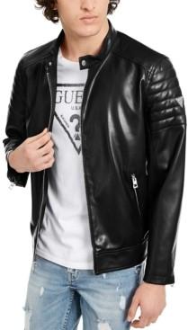 GUESS Men's Faux Leather Moto Bomber Jacket