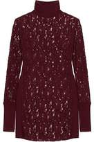 By Malene Birger Montezza Knit-Paneled Guipure Lace Turtleneck Top