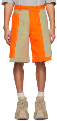 Feng Chen Wang Orange and Beige Panelled Shorts