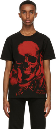 Alexander McQueen Black and Red Skull Print T-Shirt