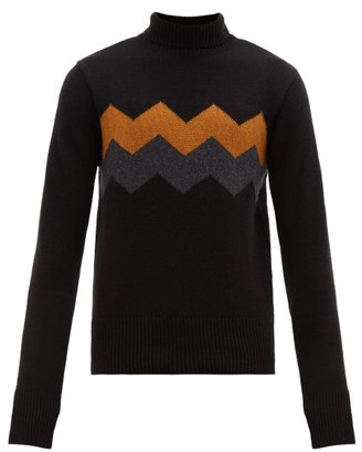 Oliver Spencer Hanley Chevron-stripe Roll-neck Wool Sweater - Mens - Black Multi