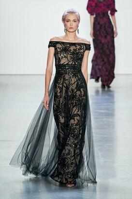 Tadashi Shoji Embellished Off Shoulder Gown