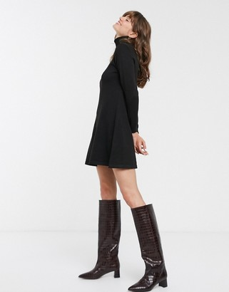 Only Julia long sleeve jumper dress-Black