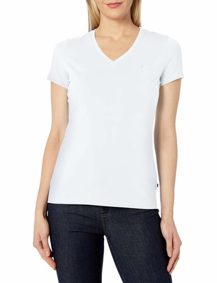 Nautica Women's Short Sleeve Stretch V Neck Solid Tshirt