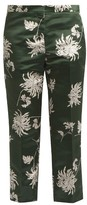 Rochas Dahlia-print straight-leg duchess-satin trousers