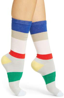 Poketo Stripe Cotton Blend Crew Socks