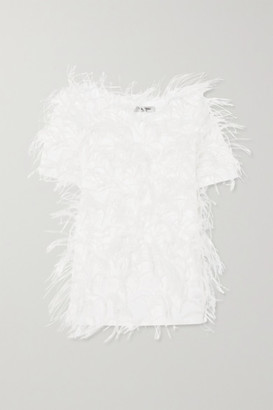Valentino Feather-embellished Cotton-jersey T-shirt - White