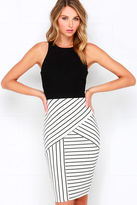 LuLu*s Kiss Cross Black and Ivory Striped Midi Dress