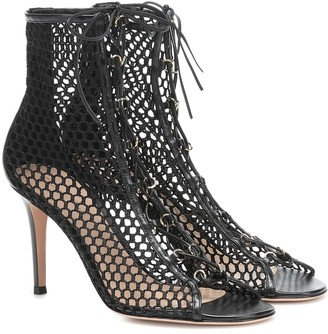 Gianvito Rossi Helena leather-trimmed ankle boots