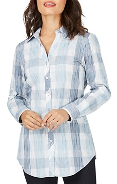 Foxcroft Faith Crinkle Buffalo Plaid Tunic Top