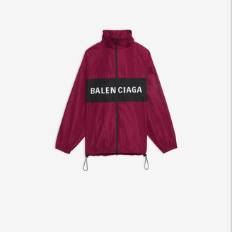 Balenciaga Logo Zip-up Jacket in dark pink technical micro faille