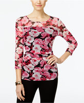 INC International Concepts Ruched Floral-Print Illusion Top, Only at Macy's